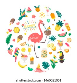 Cute summer composition with food, drinks, palm leaves, fruits and flamingo. Bright summertime poster. Collection of scrapbooking elements for beach party.