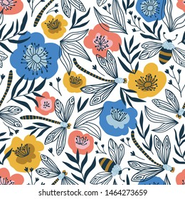 Cute summer design with bumblebee and dragonflies. Vector seamless pattern with flowers and insects.