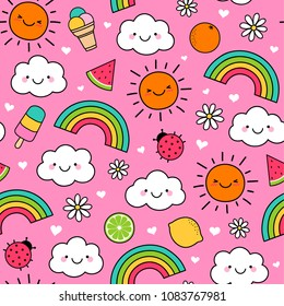 Cute summer elements cartoon seamless pattern with pink background