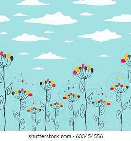 Cute summer floral design seamless strip