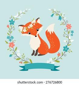 Cute summer fox,  flower wreath and ribbon.