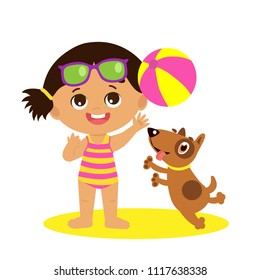Cute Summer Girl Cartoon Vector. Summer Time Vector Illustration. Girl Playing Balll With A Dog On White Background. Kids Vacation Theme. Baby On The Beach Vector.