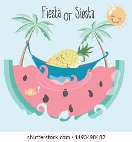Cute Summer  Illustration pineapple cartoon character sun food fish vector print graphic design swing fruit summer watermelon