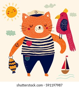 Cute summer illustration. Vector elegant childish illustration with cat-sailor in cute cartoon style.