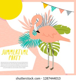 cute summer party invitation template with pink flamingo and different tropical leaves. Summertime party card with flamingo