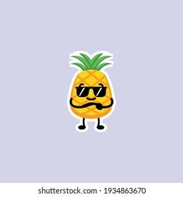 Cute summer pineapple mascot design