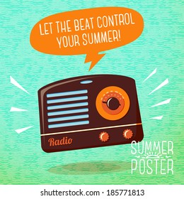 Cute summer poster - radio playing cool music, with speech bubble for your text. Vector.