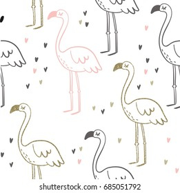 Cute summer print with flamingo. Gold texture