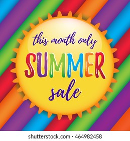 Cute summer sale colorful illustration with sun and rainbow