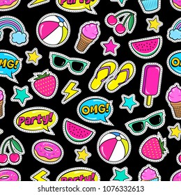 Cute summer seamless colorful pattern of fashion patches: strawberry, slippers, ball,ice-cream, donut, watermelon, cherry, cupcake, speech bubbles etc. Cartoon stickers. Vector illustration