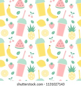cute summer seamless vector pattern background illustration with smoothies and fresh fruits