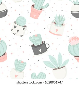 Cute summer theme cactus seamless pattern. Pretty and soft pastel colors. Pattern with different cactus and succulents. Vector illustration