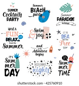 Cute Summer Typography Design Set with Trendy Holidays Elements. Trendy Typographic. Vector. Isolated. White Background. Scandinavian Concept.