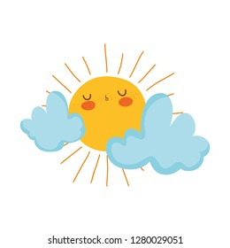 cute sun and clouds drawn