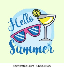 Cute sun glasses and lemon lime drink. Fun summer holidays cards. Hello summer hand drawn style vector illustration