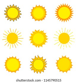 Cute sun icon logo design. Shiny bright day solar template. Nature concept vector illustration