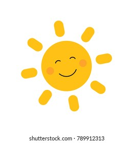 Cute sun with smile. Vector illustration