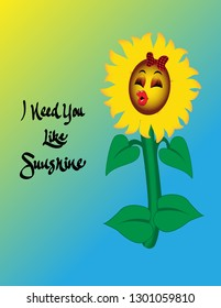 "Cute sunflower with red lipstick and a buffalo plaid bow, with the inscription ""I Need You Like Sunshine."""