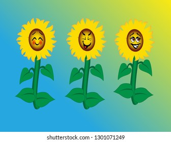 Cute sunflowers with happy cartoon faces, a blush, tongue-out smirk, and a brown-eyed happy flower, with lush green foliage.