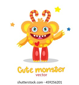 Cute Sunny Monster Vector Illustration. Cartoon Mascot. Vector Funny Fantastic Animals.