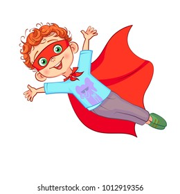 Cute Super boy character vector illustration. Flying kid dressed as a super hero, arms outstretched, red cape in the wind develops.