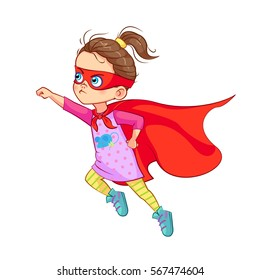 Cute Super girl character vector illustration. Little girl dressed as a super hero flying in the traditional heroic pose, stretching up her arm, a red cape in the wind develops.