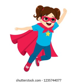 Cute super hero little girl flying with red cape