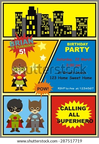 Cute Superhero Birthday Card Invitation Stock Vector Royalty Free