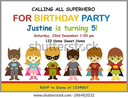 Cute Superhero Birthday Invitation Illustration Vector