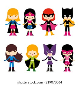 Cute superhero girl vector clip art. Set of 8