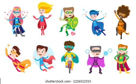 Cute superhero kids in colorful costumes. Big set of vector cartoon characters isolated on white background.