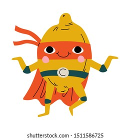 Cute Superhero Lemon in Mask and Cape, Funny Fruit Cartoon Character in Costume Vector Illustration