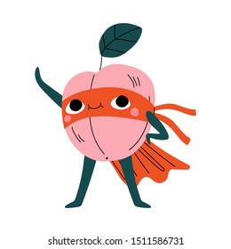 Cute Superhero Peach in Mask and Cape, Funny Fruit Cartoon Character in Costume Vector Illustration