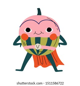 Cute Superhero Watermelon in Mask and Cape, Funny Fruit Cartoon Character in Costume Vector Illustration