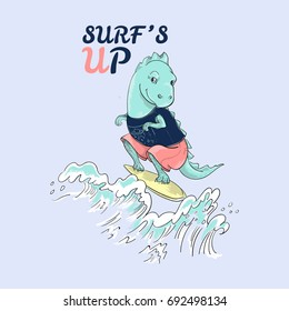 Cute surf dinosaur and waves with slogan. Vector baby patch for fashion apparels, t shirt, stickers, embroidery and printed tee design.