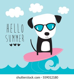 cute surf dog vector illustration