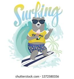 Cute surfer bear vector design for kids t-shirt.