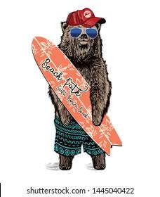 cute surfer bear vector design for kids t-shirt.hand drawn illustration.