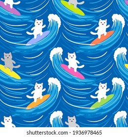 Cute surfer cats on big blue waves, seamless pattern