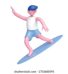 Cute surfer character with tank top and shorts, isolated on white background, 3d illustration