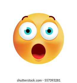 Cute Surprised Emoticon on White Background. Isolated Vector Illustration