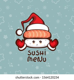 Cute Sushi with salmon in Santa hat and mittens. Vector illustration for festive new year and christmas menu decoration. Template for sushi bar logo.