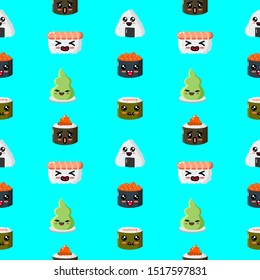 Cute sushi seamless pattern. Funny sushi with cute faces. Sushi roll and sashimi set. Happy sushi characters. Asian food, vector illustration isolated on white background.