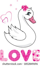 Cute swan baby for event design. Vector