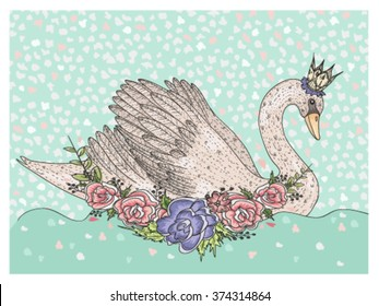 cute swan with crown and flowers fairytale background