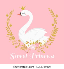 Cute swan princess. Beautiful lake swans bird in golden crown, sweet princess child girl gift card, swan duckling queen romantic fairytale nursery wallpaper cartoon vector illustration