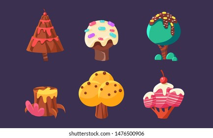 Cute Sweet Candy Trees and Plants Set, Colorful Fantasy Elements for Mobile or Video Game User Interface Assets Vector Illustration