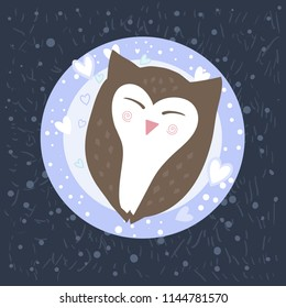 Cute sweet cartoon owl is sleeping. Funny educational vector picture for children: you need to sleep at night. Bird on a round pillow in the shape of the moon fell asleep.