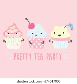cute and sweet cupcakes, illustration, vector, slogan