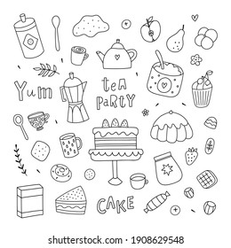 Cute sweet food doodles on white background. Vector desserts, cakes and sweet pies. Bakery clipart collection